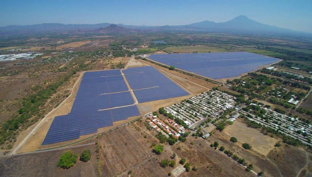 An aerial view of the solar power project Providencia Solar in El Salvador