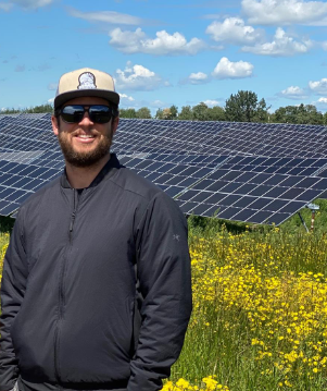 Jamie Houssian, Principal at Elemental Energy, at one of their solar energy projects.
