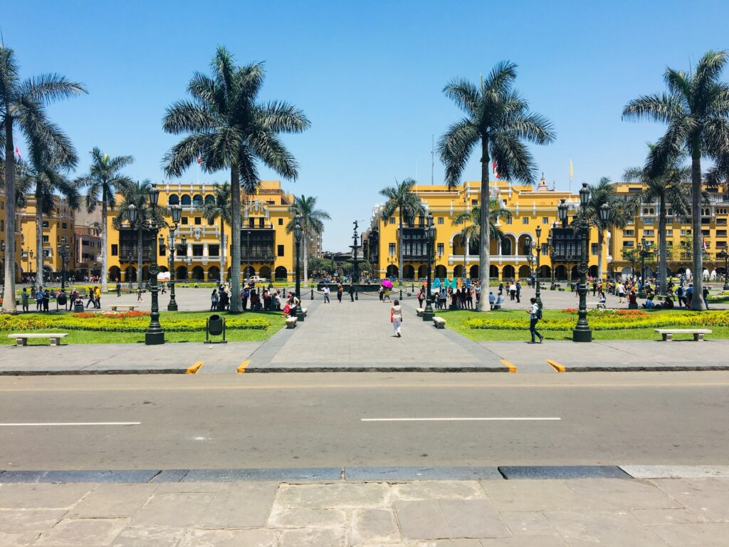 Pplaza de Armas in Lima, Peru. This article explores the challenges social enterpreneurs face in Peru.
