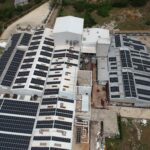 Solar panels on a cacao processing plant in the Dominican Republic